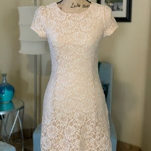 Fitted, lace mini, dress